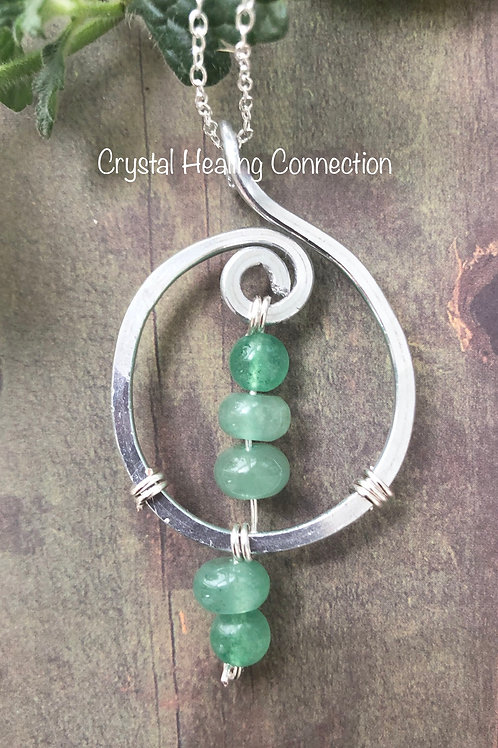 Green Aventurine Wire Wrapped Hammered Necklace