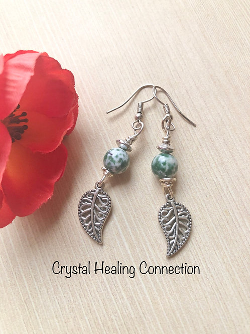 Tree Agate 1 Bead Leaf Earrings