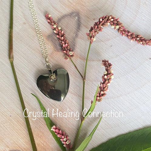 Dainty Hematite Heart Necklace