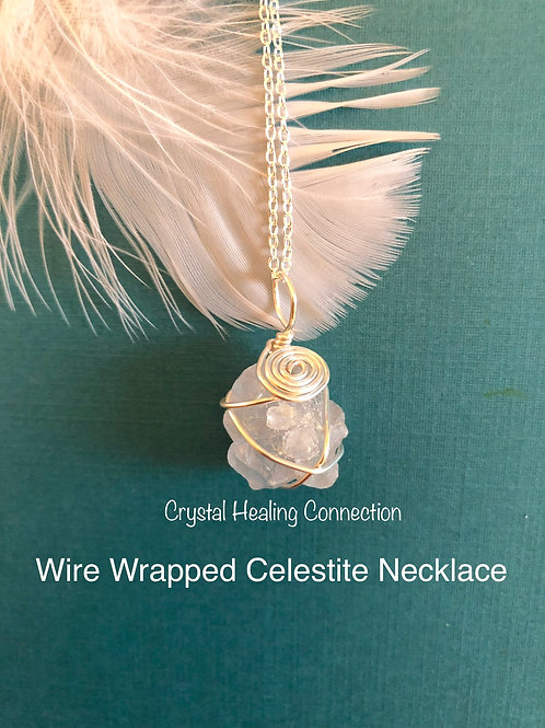 Wire Wrapped Celestite Necklace 2