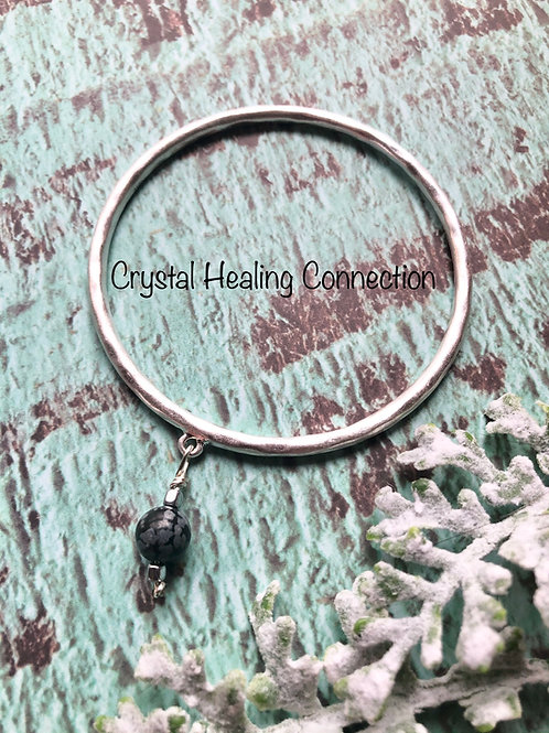 Snowflake Obsidian Silver Bangle Bracelet