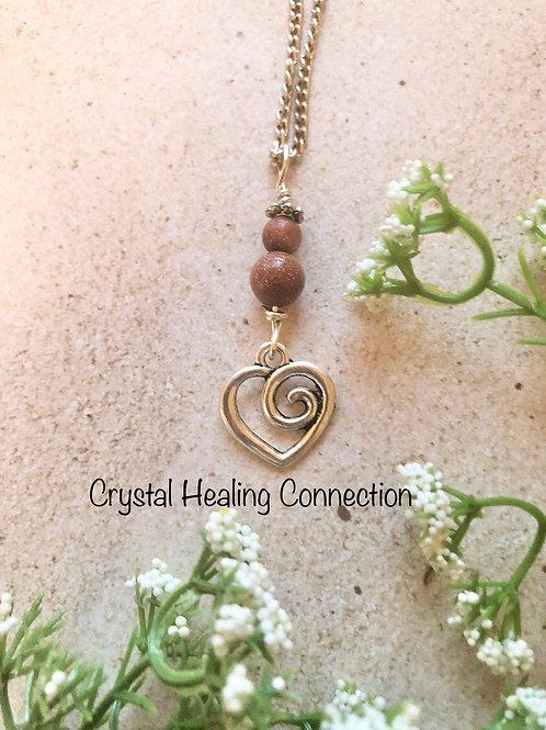 Goldstone Swirl Heart Necklace