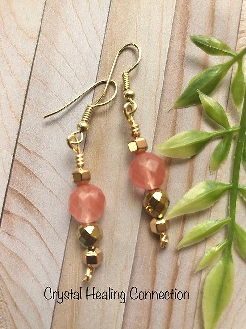 Cherry Quartz Gold Beaded Earrings