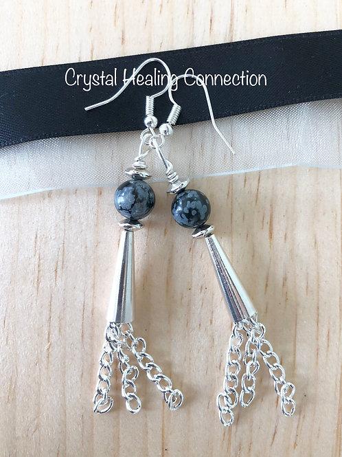 Snowflake Obsidian  Tassle Earrings