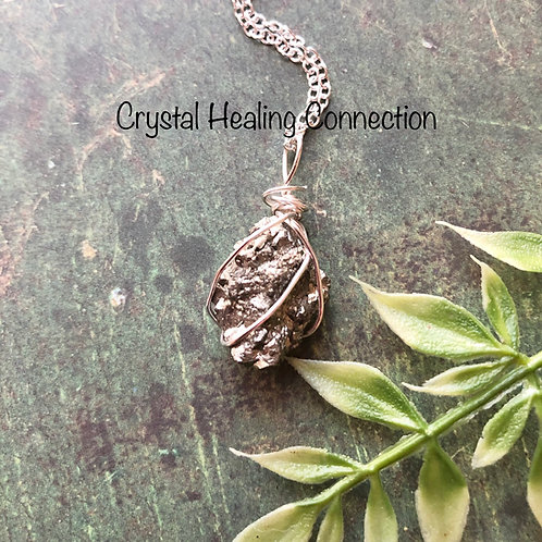 Wire Wrapped Natural Pyrite Necklace