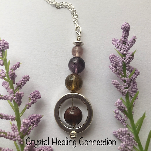 Auralite 23 Three Bead Circle Necklace