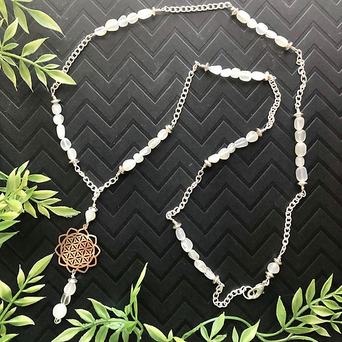 Moonstone Flower of Life Beaded Necklace