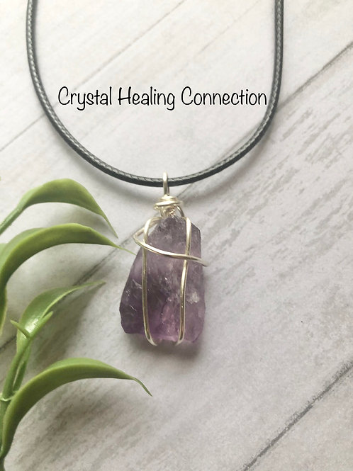 Natural Rough Amethyst Wire Wrapped Necklace