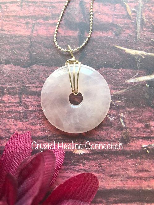 Rose Quartz Wire Wrapped Pi Stone Necklace