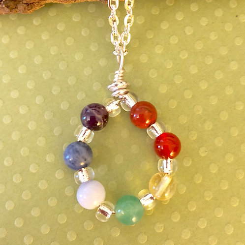 Chakra Wire Wrapped Circle Necklace