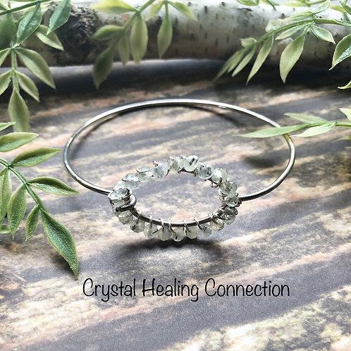 Prehnite w/ Epidote Wire Wrapped Bracelet