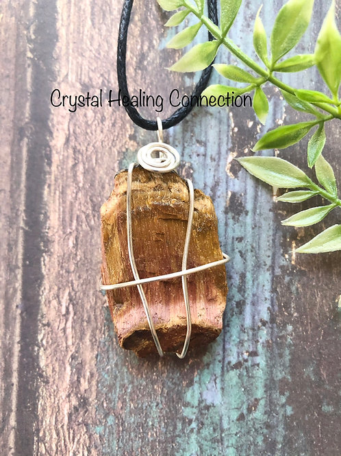 Wire Wrapped Natural Tigers Eye Necklace