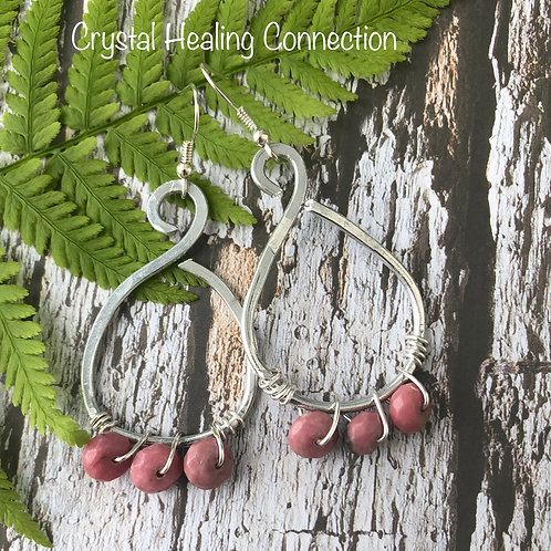 Rhodonite Wire Wrapped, Hammered Earrings