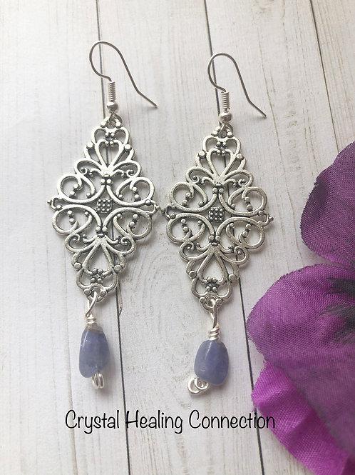 Tanzanite Filagree Diamond Earrings