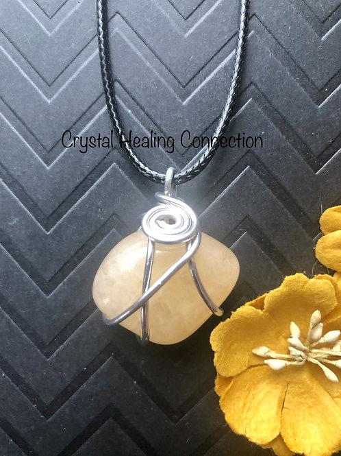 Golden Healer Quartz Wire Wrapped Necklace