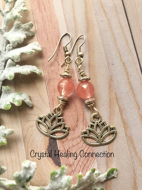 Cherry Quartz Lotus Earrings