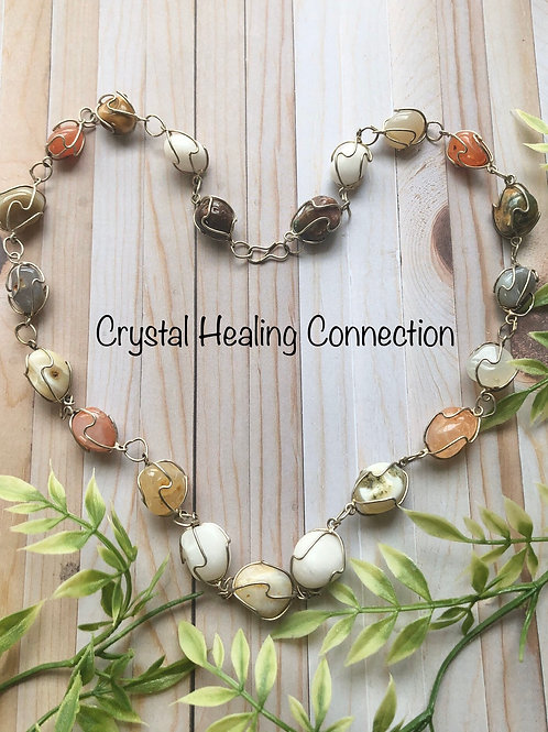 Agate Wire Wrapped Beaded Necklace