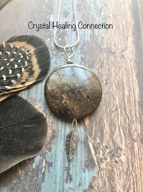 Bronzite Feather Necklace
