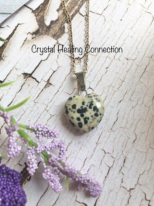 Dalmatian Stone Mini  Heart Necklace