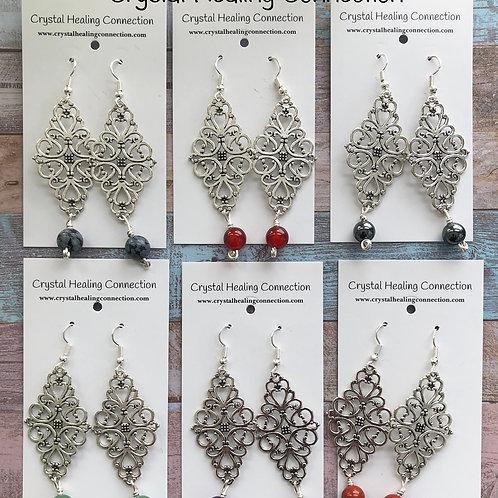 Gemstone Filagree Diamond Earrings