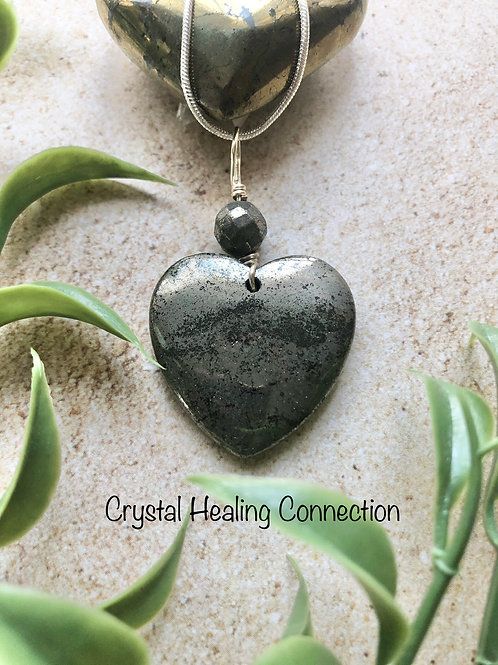 Pyrite Beaded Heart Necklace