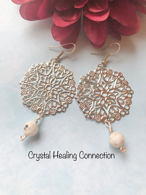 Moonstone Filagree Circle Earrings