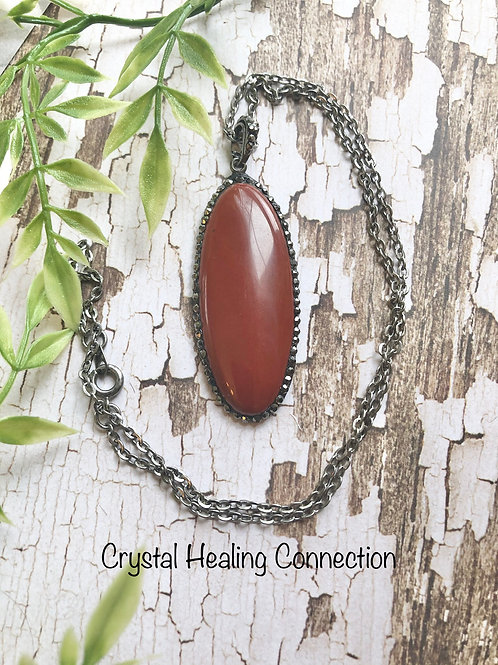 Red Jasper Oval Necklace