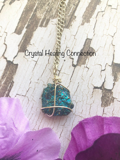 Simple Wire Wrapped Peacock Ore Necklace