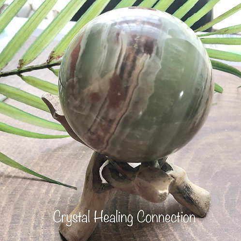 Green Onyx 70mm Sphere with wooden stand
