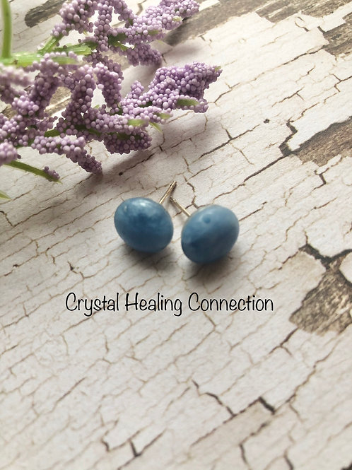 Blue QuartzRound Stud Earrings