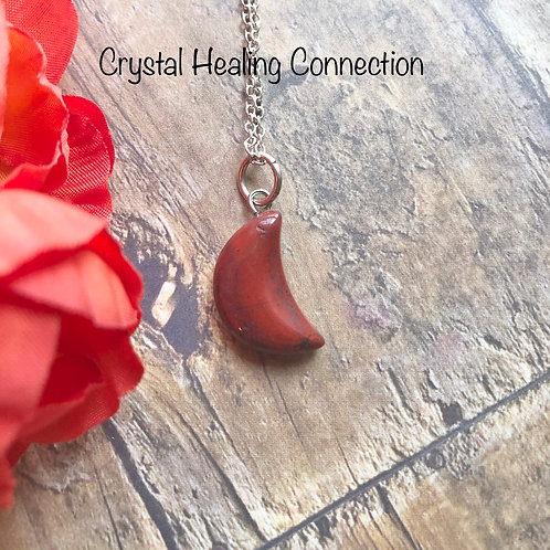 Red Jasper Mini Moon Necklace