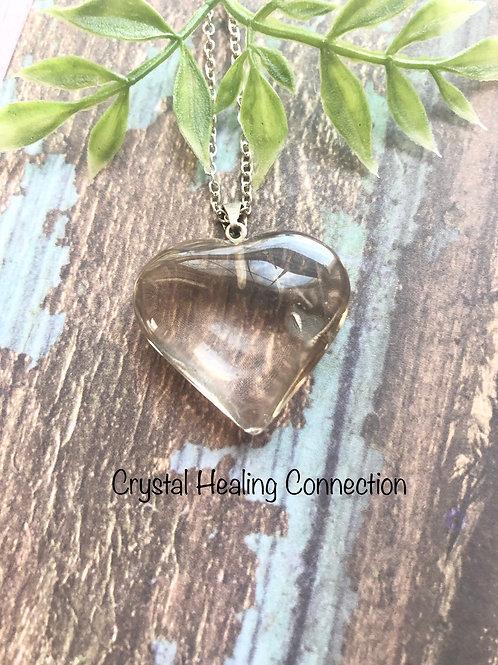 Smokey Quartz Puffy Heart Necklace
