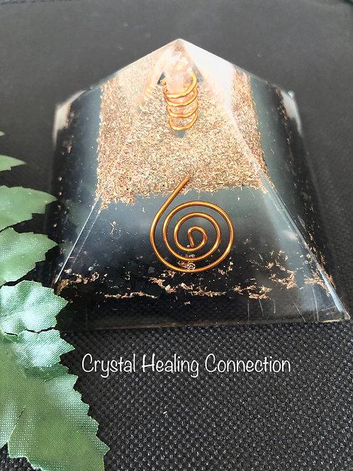 Black Tourmaline Glow Orgonite Pyramid