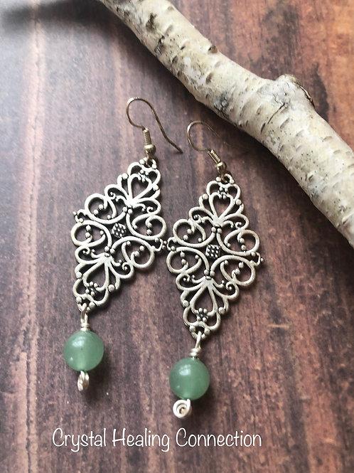 Green Aventurine Filagree Diamond Earrings