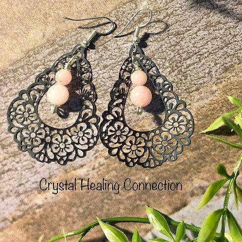 Rose Quartz Filagree Earrings