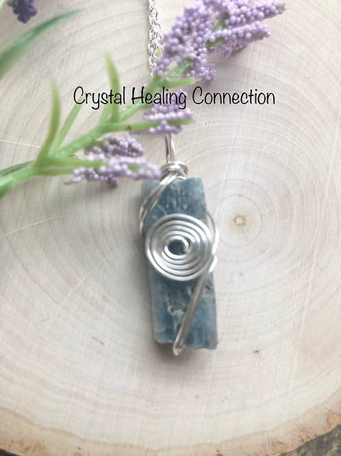 Wire Wrapped Natural Kyanite Necklace