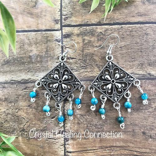 Blue Apatite Boho Earrings