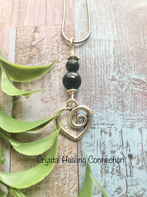Black Tourmaline Heart Swirl Necklace