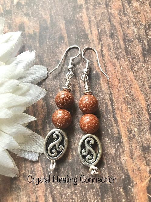 Goldstone 2 Bead Earrings