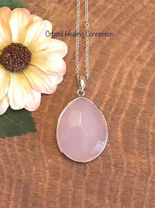 Rose Quartz Oval Necklace