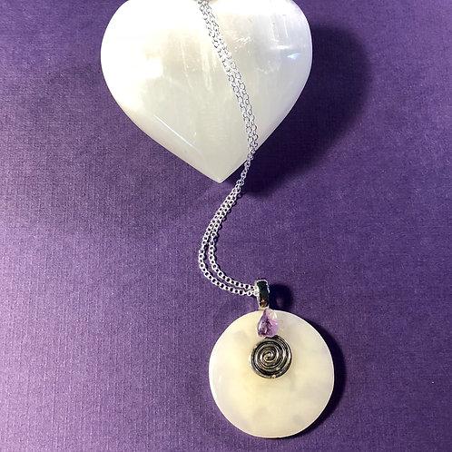Selenite & Amethyst Swirl Disc Necklace