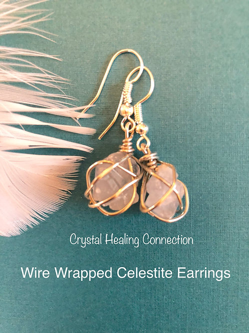 Wire Wrapped Celestite Earrings 2