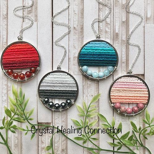 Gemstone Beaded Circle Necklaces