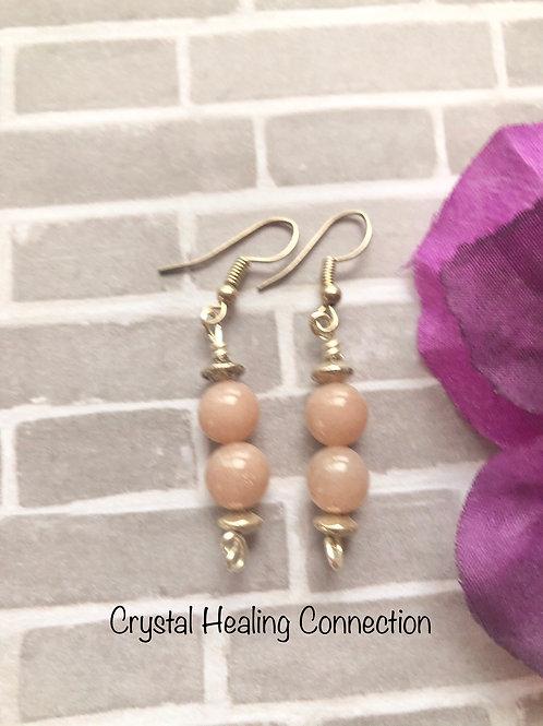 Pink Moonstone 2 Bead  Earrings