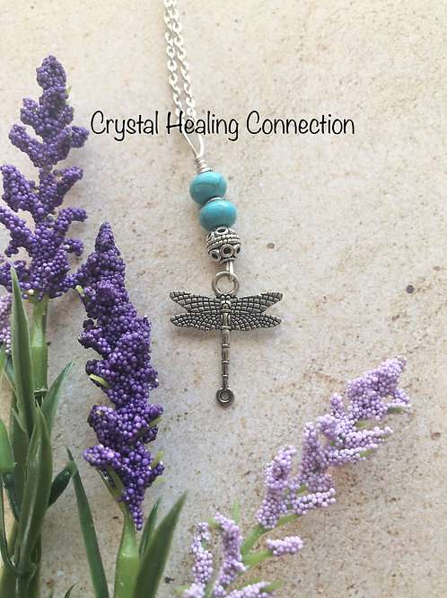 Blue Howlite Dragonfly Necklace
