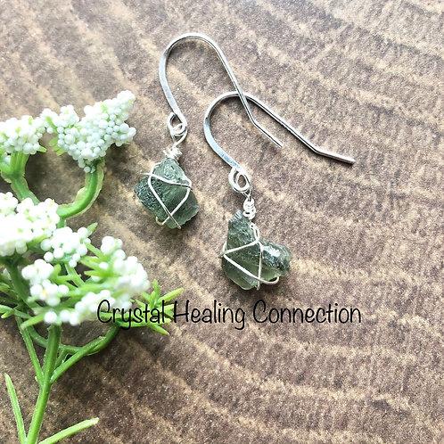 Moldavite Wire Wrapped Earrings