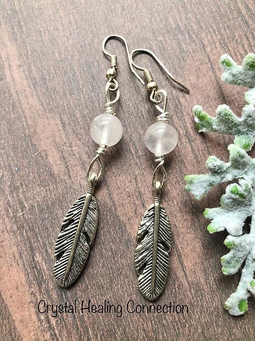 Rose Quartz Feather Earrings