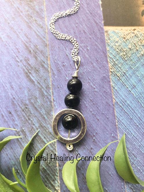 Black Tourmaline 3 Bead Circle Necklace