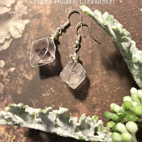 Fluorite Wire Wrapped Octahedron Earrings