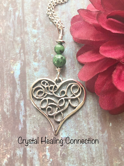 Ruby in Zoisite Filagree Heart Necklace